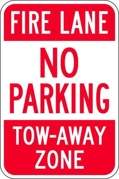 Lyle Fire Lane Sign, 18 x 12In, R/WHT, ENG, Text NP-005-12HA