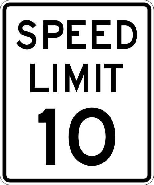 Lyle Traffic Sign, 24 x 18In, BK/WHT, DMD GR AL R2-1-10-18DA