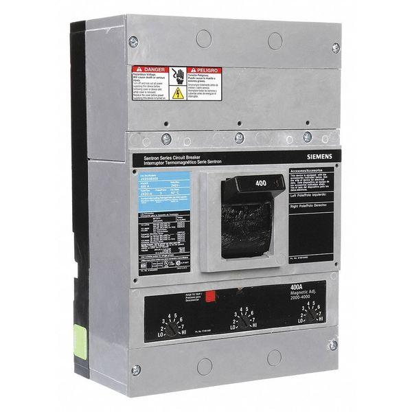 Siemens Molded Case Circuit Breaker,  400 A,  240V AC,  3 Pole,  Free Standing Lug In Mounting Style JXD23B400