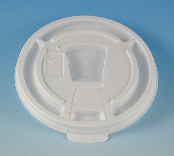Zoro Select Lid for 8 to 10 oz. Hot Cup,  Flat,  Lock Back Tear Tab,  White,  Pk1000 DT8