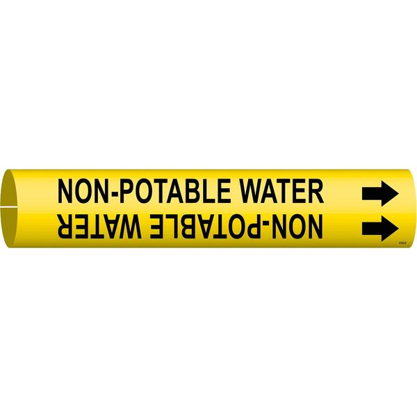 Brady Pipe Marker, Non-Potable Water, Y, 4 to6 In 4102-D
