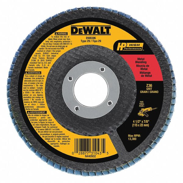Dewalt Arbor Mount Flap Disc, 4-1/2in, 36, Coarse DW8306