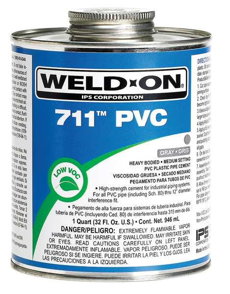 Weld-On PVC Gray Heavy Bodied 1/2 Pint 13976