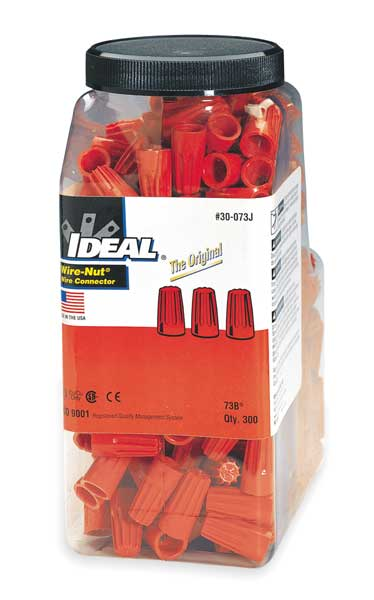 Ideal Twist On Wire Connector, 22-14 AWG, PK300 30-073J