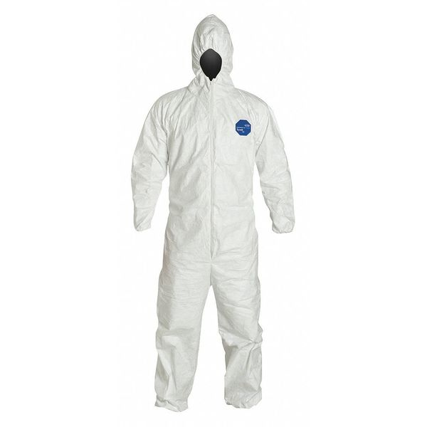 Dupont Hooded Disposable Coveralls ,  Xl ,  White ,  Tyvek(R) 400 ,  zipper TY127SWHXL002500