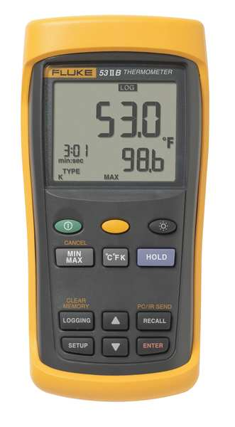 Fluke Thermocouple Thermometer,  1 Input,  Manufacturers Warranty Length: 3 yr FLUKE-53-2 B