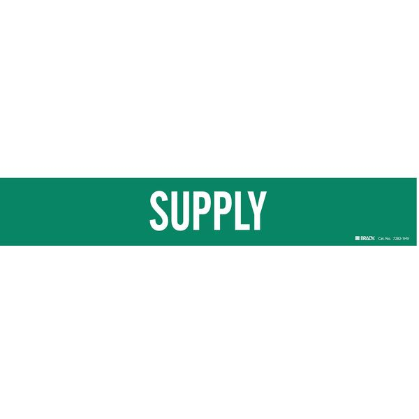 Brady Pipe Marker, Supply, Green, 8 In or Greater 7282-1HV