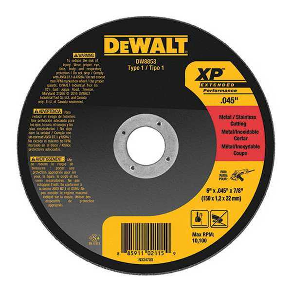 "Dewalt CutOff Wheel, Z60T, 6""x.045""x7/8"", 10100rpm DW8853"
