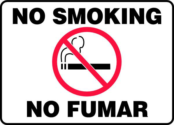 "Accuform No Smoking Sign, 7X10"", R and BK/WHT SBMSMK427MVP"