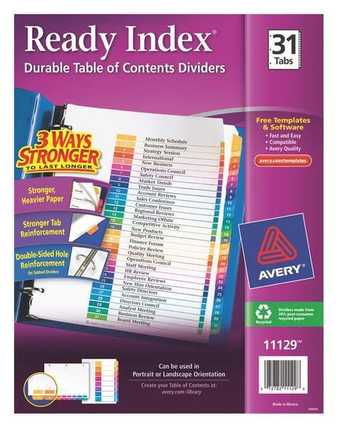 Avery Avery® Ready Index® Table of Contents Dividers 11129,  31-Tab Set 7278211129