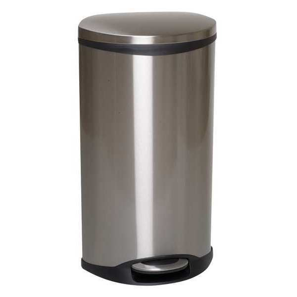 Tough Guy 13 gal. Stainless Steel Oval Trash Can ,  Silver 6ZCL2