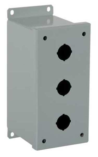Ge Pushbutton Enclosure, 22mm, 3 Holes, Steel 080HEG13