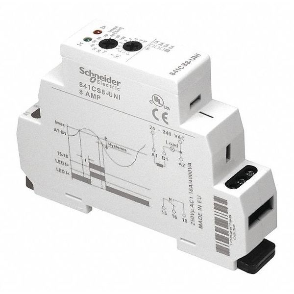 Schneider Electric Current Sensing Relay,  0.1to1A,  24to240VAC,  Mounting: Din Rail 841CS1-UNI
