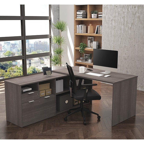 "Bestar L Shaped Desk,  59-19/64"" X 71.1"" X 29.6"",  Bark Gray,  Melamine 160850-47"