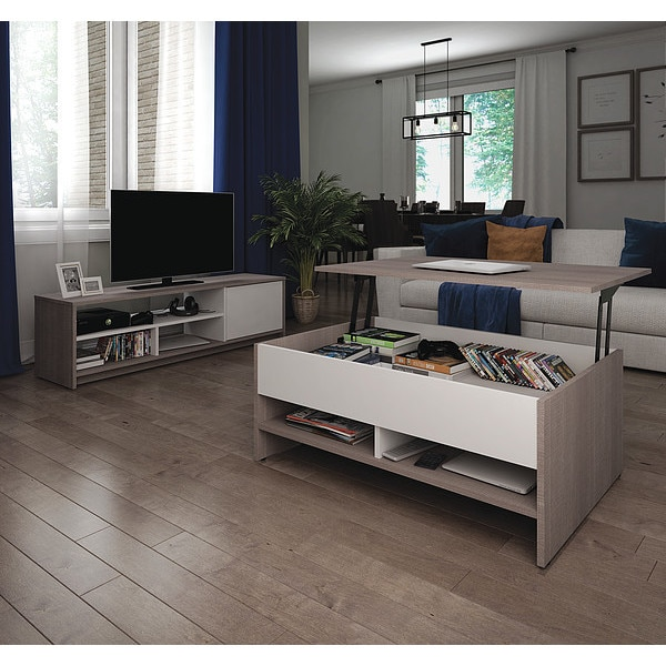 Bestar Table/TV Stand Set, Small Space, Gry/Wht 16850-47