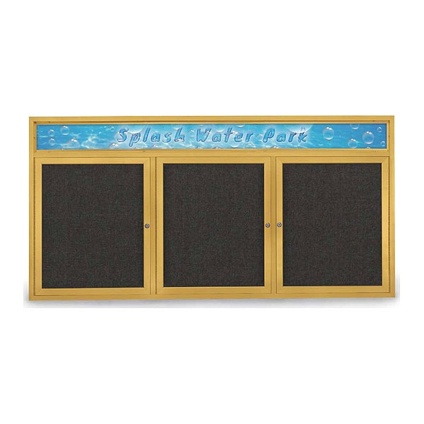 "United Visual Products Corkboard, 72""x36"", Black/Gold UV433H-GOLD-BLACK"