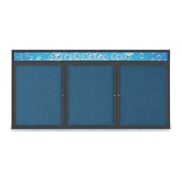 "United Visual Products Corkboard, 96""x48"", Ultramarine/Black UV435H-BLACK-ULTMAR"