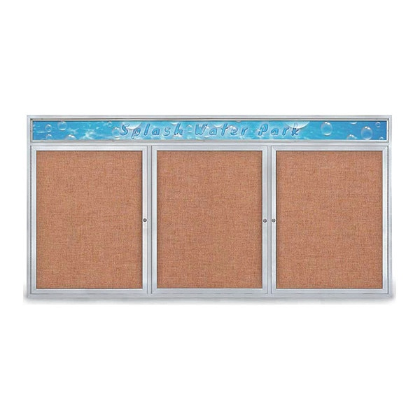 "United Visual Products Corkboard, 96""x48"", Cinnabar/Satin UV435H-SATIN-CINNABA"