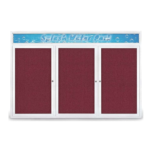 "United Visual Products Corkboard, 72""x48"", Deep Burgundy/White UV434H-WHITE-DBURGU"