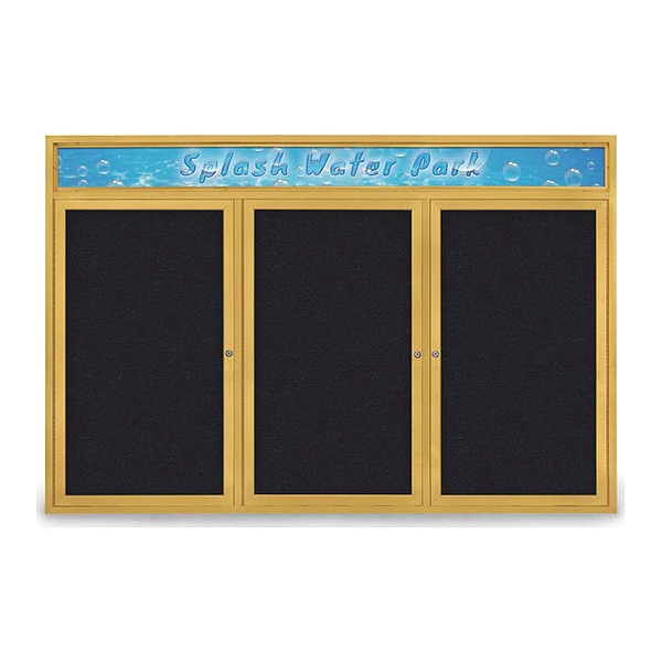 """United Visual Products Corkboard, 72""""x48"""", Rubber/Gold UV434H-GOLD-RUBBER"""
