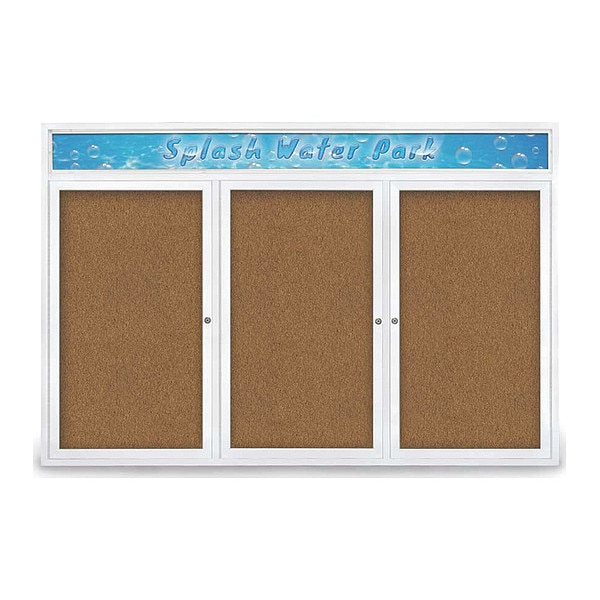 """United Visual Products Corkboard, 72""""x48"""", Synthetic Cork/White UV434H-WHITE-FORBO"""