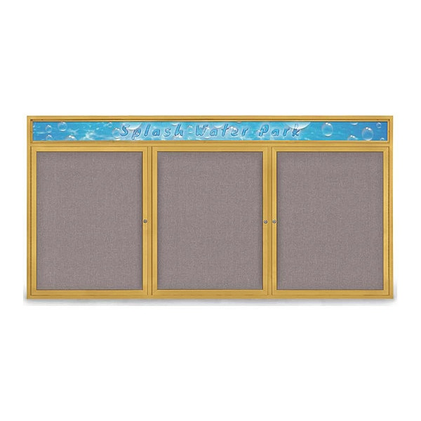"""United Visual Products Corkboard, 96""""x48"""", Surf/Gold UV435H-GOLD-SURF"""