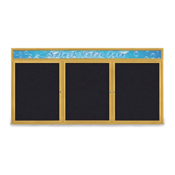 """United Visual Products Corkboard, 96""""x48"""", Rubber/Gold UV435H-GOLD-RUBBER"""