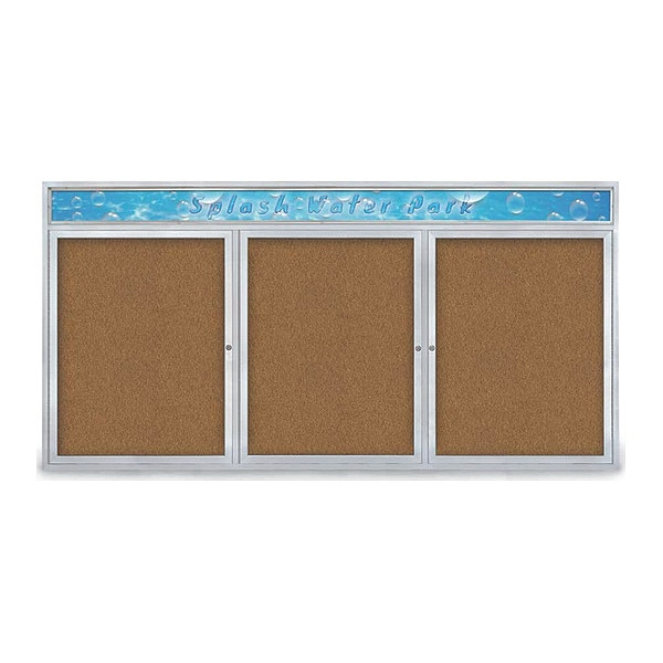 """United Visual Products Corkboard, 96""""x48"""", Synthetic Cork/Satin UV435H-SATIN-FORBO"""