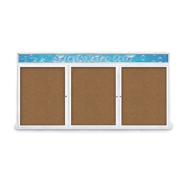 """United Visual Products Corkboard, 96""""x48"""", Synthetic Cork/White UV435H-WHITE-FORBO"""