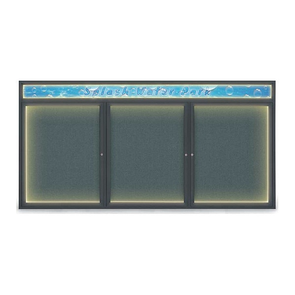 "United Visual Products Corkboard, 96""x48"", Blue Spruce/Black UV455HILED-BLACK-BLSPRU"
