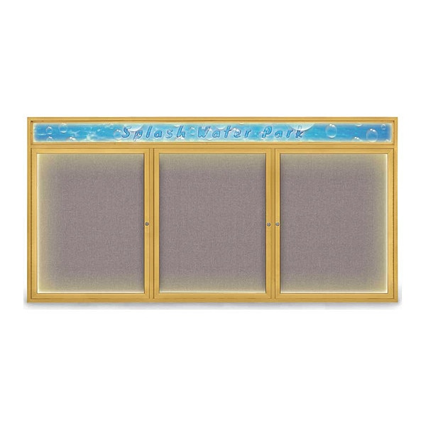 """United Visual Products Corkboard, 96""""x48"""", Surf/Gold UV455HILED-GOLD-SURF"""