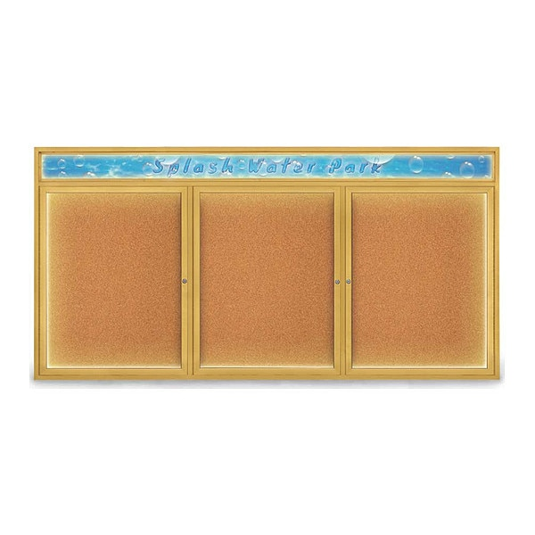 "United Visual Products Corkboard, 96""x48"", Cork/Gold UV455HILED-GOLD-CORK"