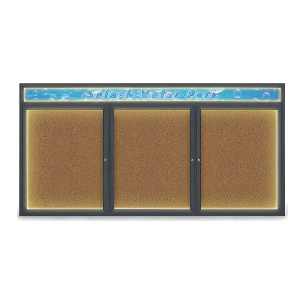 """United Visual Products Corkboard, 96""""x48"""", Synthetic Cork/Black UV455HILED-BLACK-FORBO"""