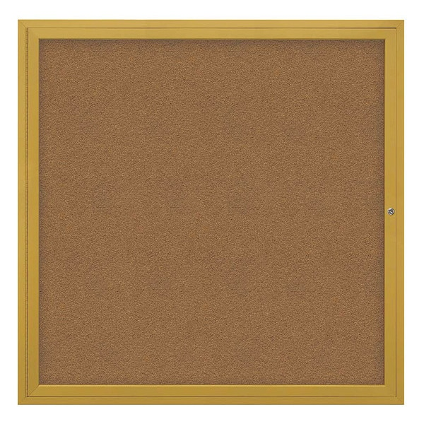 "United Visual Products Corkboard, 48""x48"", Synthetic Cork/Gold UV40448-GOLD-FORBO"
