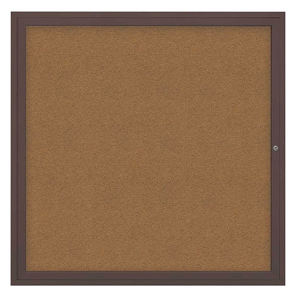 "United Visual Products Corkboard, 48""x48"", Synthetic Cork/Bronze UV40448-BRONZE-FORBO"