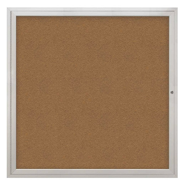 "United Visual Products Corkboard, 48""x48"", Synthetic Cork/Satin UV40448-SATIN-FORBO"