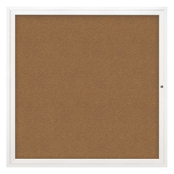 "United Visual Products Corkboard, 48""x48"", Synthetic Cork/White UV40448-WHITE-FORBO"