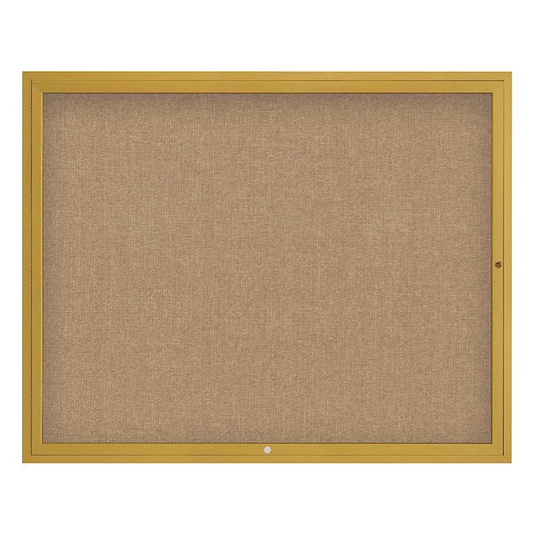 "United Visual Products Corkboard, 60""x48"", Buff/Gold UV4052-GOLD-BUFF"