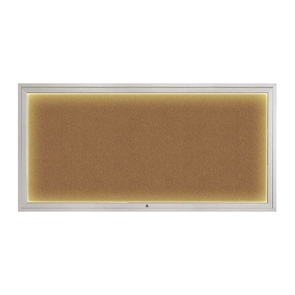 "United Visual Products Corkboard, 72""x36"", Synthetic Cork/Satin UV418ILED1-SATIN-FORBO"
