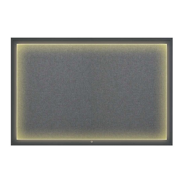 "United Visual Products Corkboard, 72""x48"", Medium Grey/Black UV419ILED1-BLACK-MEDGRY"
