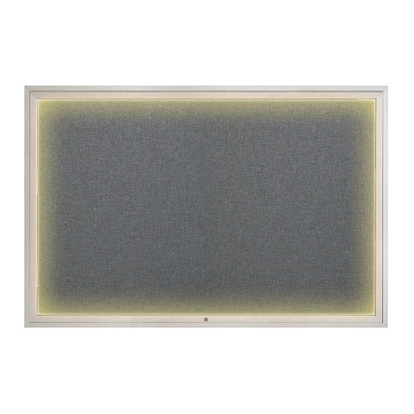 "United Visual Products Corkboard, 72""x48"", Medium Grey/Satin UV419ILED1-SATIN-MEDGRY"