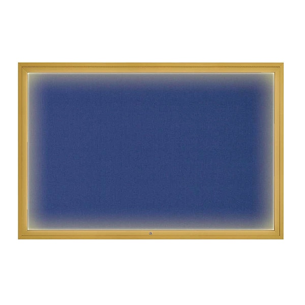 """United Visual Products Corkboard, 72""""x48"""", Cobalt Accent/Gold UV419ILED1-GOLD-COBACC"""