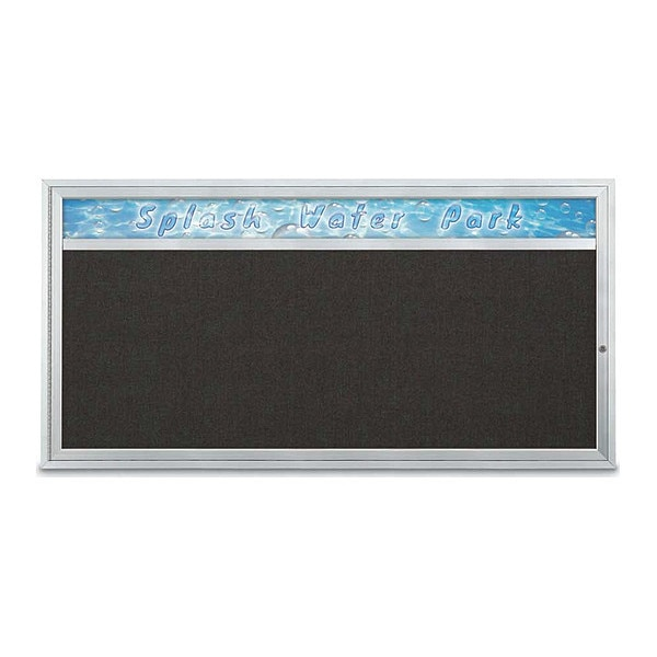 "United Visual Products Corkboard, 72""x36"", Black/Satin UV433H1-SATIN-BLACK"