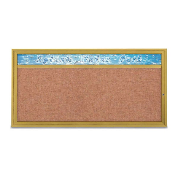 "United Visual Products Corkboard, 72""x36"", Cinnabar/Gold UV433H1-GOLD-CINNABA"