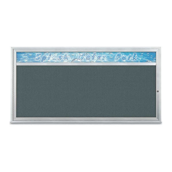 "United Visual Products Corkboard, 72""x36"", Blue Spruce/Satin UV433H1-SATIN-BLSPRU"