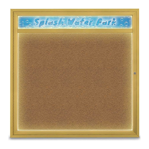 """United Visual Products Corkboard, 48""""x48"""", Synthetic Cork/Gold UV451HILED48-GOLD-FORBO"""