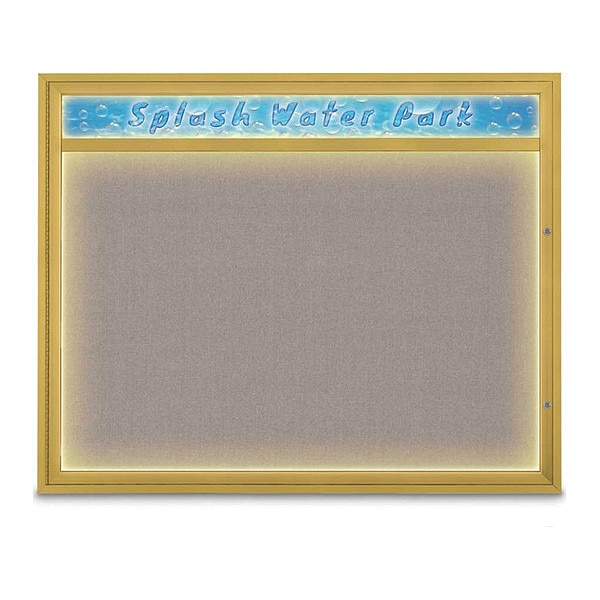 "United Visual Products Corkboard, 60""x48"", Pearl/Gold UV452HILED2-GOLD-PEARL"
