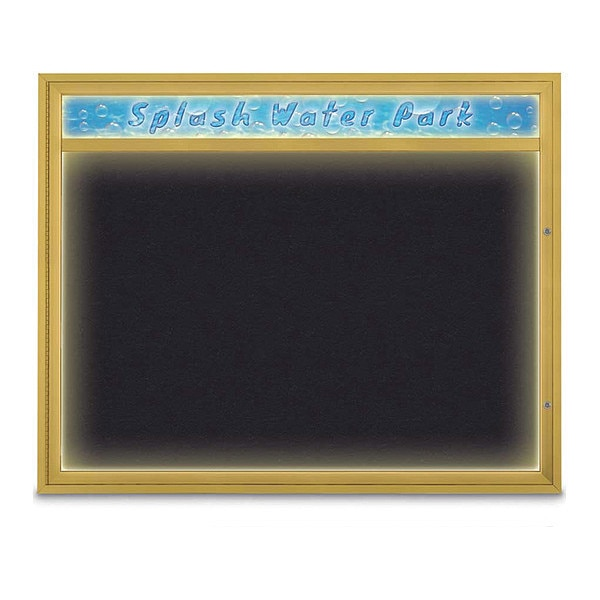 "United Visual Products Corkboard, 60""x48"", Rubber/Gold UV452HILED2-GOLD-RUBBER"