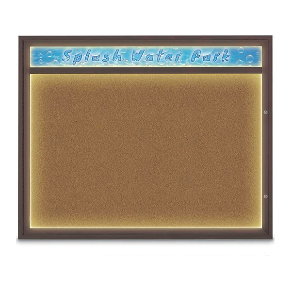 "United Visual Products Corkboard, 60""x48"", Synthetic Cork/Bronze UV452HILED2-BRONZE-FORBO"