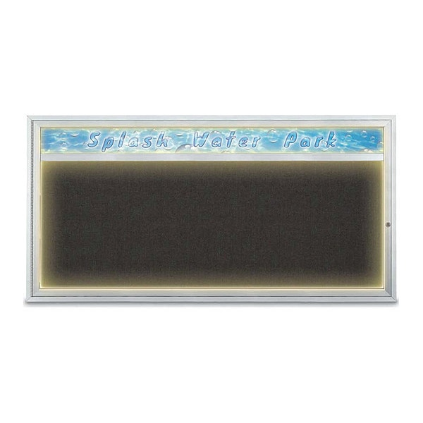 "United Visual Products Corkboard, 72""x36"", Black/Satin UV453HILED1-SATIN-BLACK"